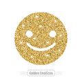 Happy emoticon by golden glitter. Face with smile, icon. Vector