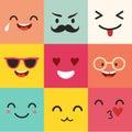 Happy emoticons vector pattern. Positive moji set