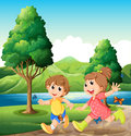 Happy and energetic kids playing near the river illustration of Stock Images