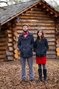 Happy engaged couple portrait of a to be married in the winter outdoors this is modern trendy hipster and fashion first Royalty Free Stock Photography