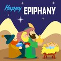 Happy epiphany three king concept background, cartoon style