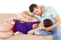 Happy expecting parents at home family parenthood and happiness concept Stock Photo