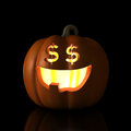 Happy eyes halloween pumpkin is glad to see us dollars Royalty Free Stock Image
