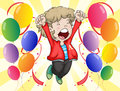 A happy face of a boy with balloons around him illustration Stock Images