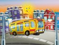 The happy face bus in the city Royalty Free Stock Image