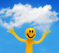 A happy face holding a cloud Royalty Free Stock Photography
