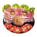 Happy face made of food vegetables ham and bread roll Stock Images