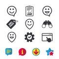 Happy face speech bubble icons. Pointer symbol. Royalty Free Stock Photo