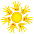 Happy faces hands sun Royalty Free Stock Photo