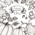 Happy fall. Concept of the holiday of autumn and harvest. Hand drawing. The leaves of the trees are maple, oak. Pumpkin, apple, mu Royalty Free Stock Photo