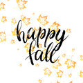 Happy fall text with orange autumn leaves