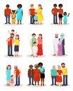 Happy families of different nationalities from different countries set, parents and their children in national and
