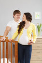 Happy family awaiting baby couple indoor shoot Royalty Free Stock Image