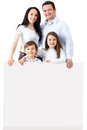 Happy family with a banner Stock Photography