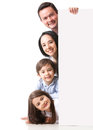 Happy family with a banner Royalty Free Stock Photo