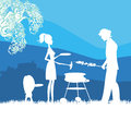 Happy family with barbecue outdoors Royalty Free Stock Photography
