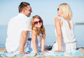 Happy family on the beach Royalty Free Stock Photo