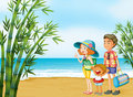 A happy family at the beach illustration of Royalty Free Stock Images