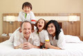 Happy family in the bedroom Royalty Free Stock Images