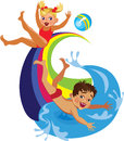 Happy family, boy with girl playing on water attractions