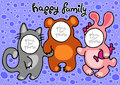 Happy family in carnival costumes kitty bear bunny Stock Photos