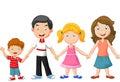 Happy family cartoon holding hands