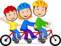 Happy family cartoon riding triple bicycle illustration of Stock Photo