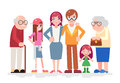 Happy Family Characters Love Together Child Teen Adult Old Icon Flat Design