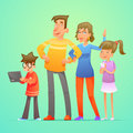 Happy family characters set cartoon design vector illustration Royalty Free Stock Photo