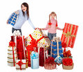 Happy family with child and group gift box. Stock Image