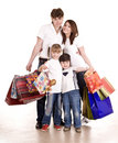 Happy family  and children shopping. Royalty Free Stock Photo