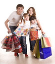 Happy family and children shopping. Royalty Free Stock Image