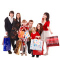 Happy family with children and shopping bag. Stock Image