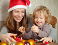 Happy family in Christmas Stock Photo