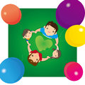 Happy family in a circle illustration of hand hand Royalty Free Stock Images