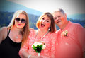 Happy family a closeup of a pretty lady with sunglasses standing beside older couple shallow depth of field Stock Photos