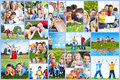 Happy family collage background people outdoors Stock Photos