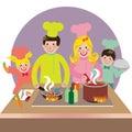 Feliz familia cocinar