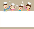 Happy family cooking with space frame