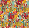 Happy family crowd parents people and kids color seamless pattern.