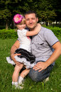Happy family, dad daughter hugs Royalty Free Stock Photo