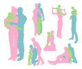 Happy family detailed silhouettes high quality and very of a young mother and father and child in various poses Stock Photos