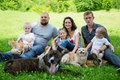 Happy family with dogs and cat Royalty Free Stock Photo