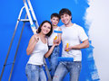 Happy family doing renovation Royalty Free Stock Images