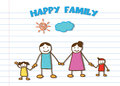 Happy family doodle vector on school ruled sheet paper Stock Photos
