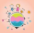 Happy family on Earth – VECTOR Royalty Free Stock Photo