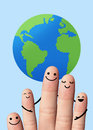Happy family with the earth travel environmental protection co fingers on blue background Stock Images