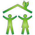 Happy family in eco house Stock Image