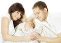 Happy family embracing sleeping newborn baby Royalty Free Stock Photo