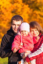 Happy family enjoying a autumn day at nature Stock Photo